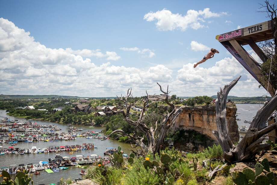 Red Bull Cliff Diving World Series made its first stop inGraford, Texas on Saturday and one wildcard participant shocked thecompetition. Photo: Red Bull Content Pool