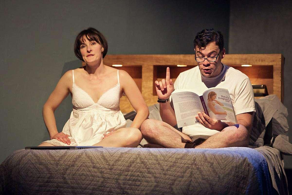 John (Nick Medina) presents his ideal pregnancy plan to the expectant Becky (Elissa Stebbins).