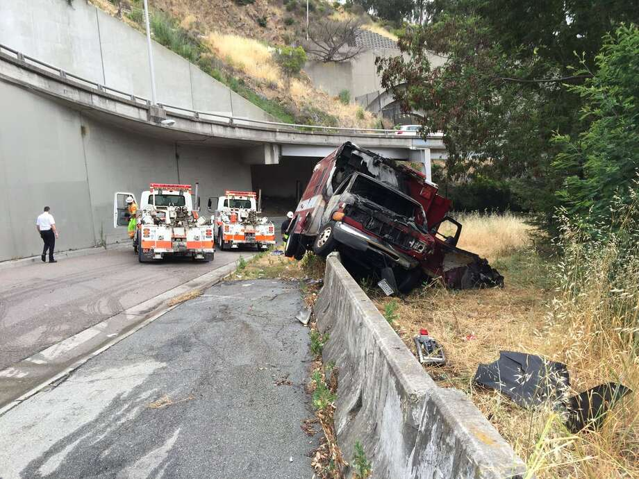 A suspect stole an ambulance in San Francisco and crashed on a Treasure Island ramp off of eastbound I-80.  Photo: CHP San Francisco