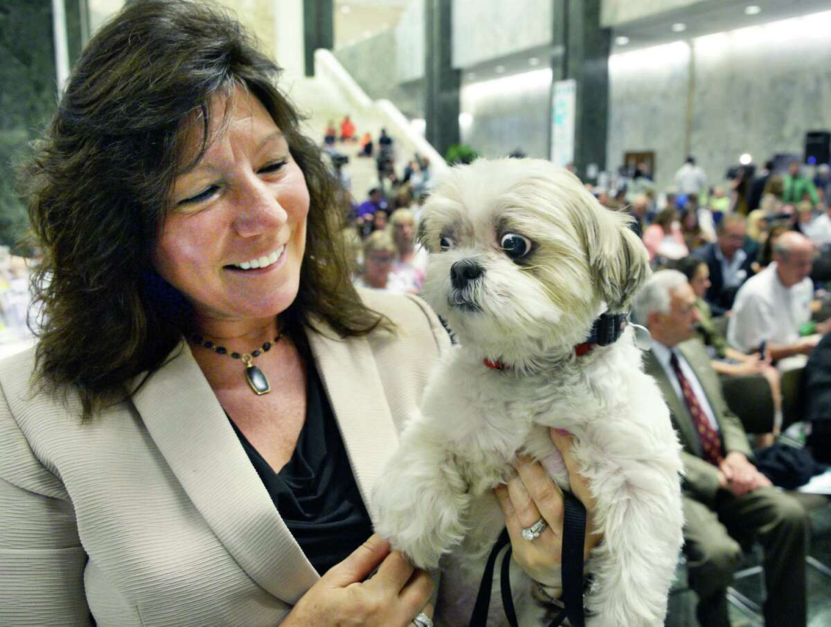 Senator Sue Serino holds her shih tzu Buddy during the 6th Annual NYS Animal Advocacy Day in the Well of the Legislative Office Building Tuesday June 7, 2016 in Albany, NY. (John Carl D'Annibale / Times Union)