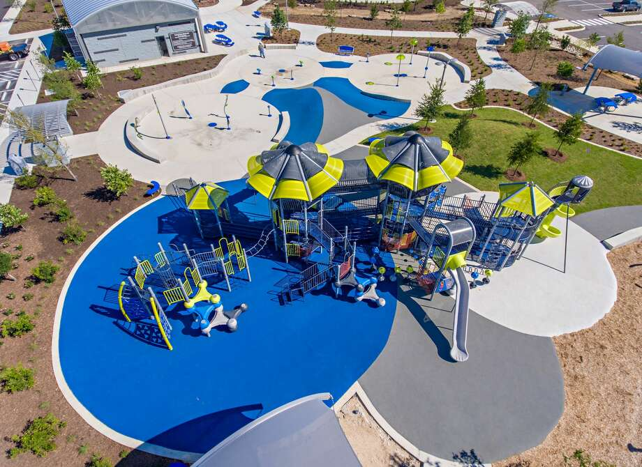 A newly expanded Pearsall Park on the Southwest Side offers the city's largest splash pads and skate parks, an event stage, playground, a fitness challenge zone, sitting areas and a zip line, among other amenities. Photo: Airborne Aerial Photography, Www.TexasByAir.com