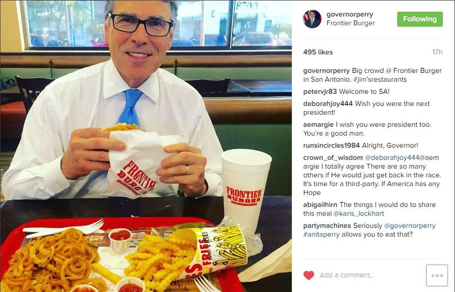 Former Governor Rick Perry visited San Antonio on Monday and ate at Frontier Burger. Photo: Courtesy/Instagram