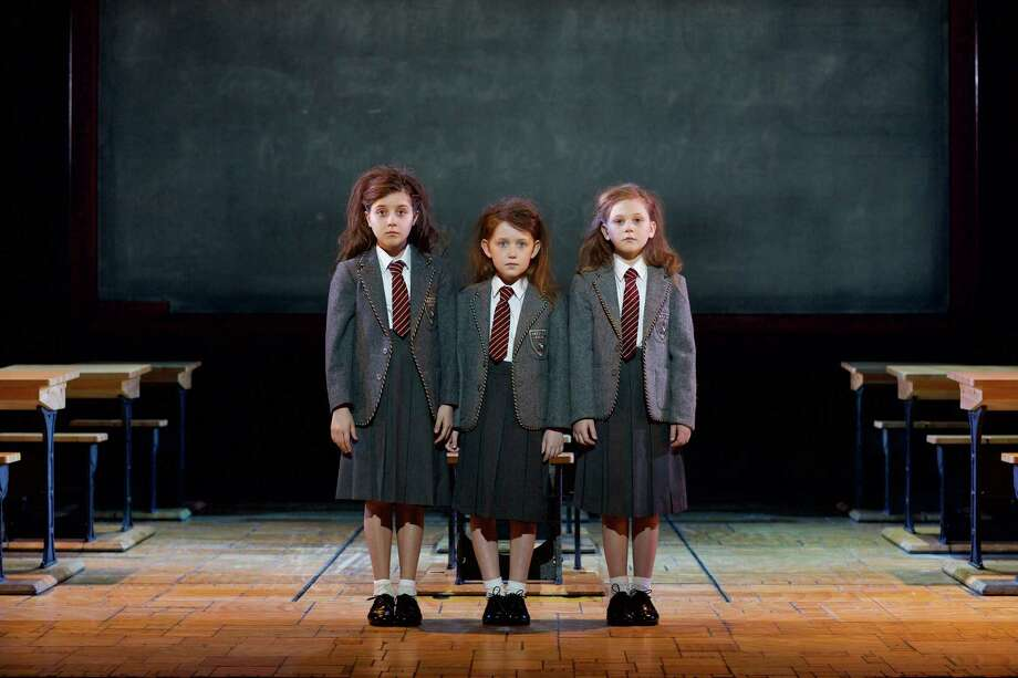 """Sarah McKinley Austin, center, of Greatwood is one of the girls rotating in the starring role of Matilda in the national tour of """"Matilda the Musical."""" The other performers are Savannah Grace Elmer and Lily Brooks O'Briant.  Photo: Brian Tietz, Photographer / Brian Tietz Photography, Inc."""