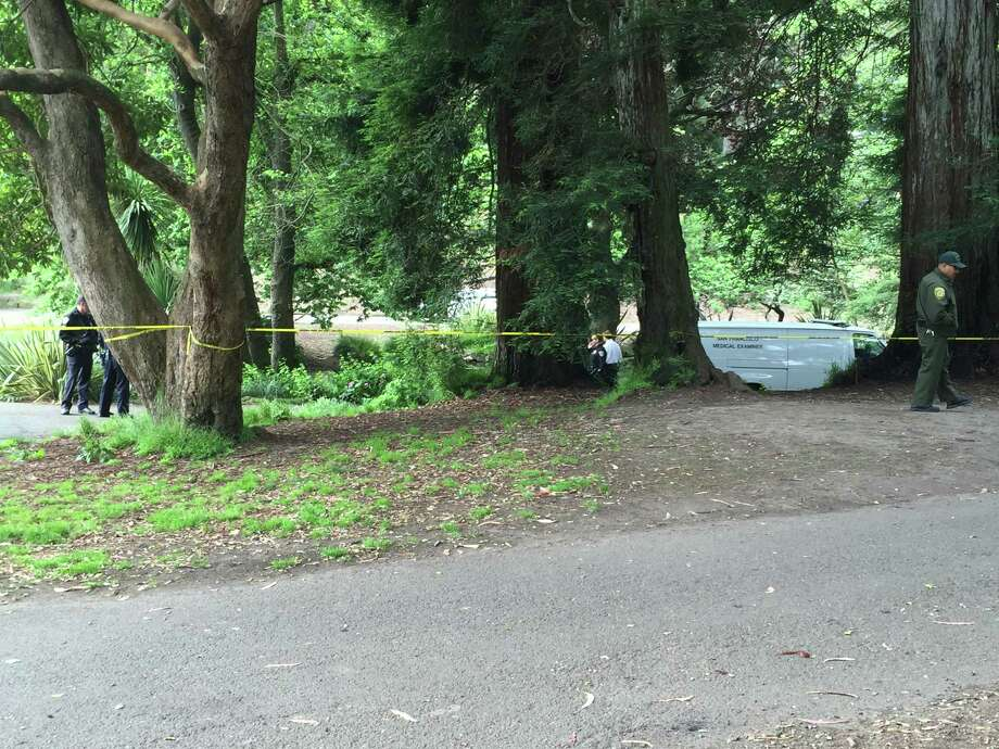Police and medical examiner's investigators were at a pond May 24 where a gardener found the body of a man. Photo: Kimberly Veklerov / The Chronicle