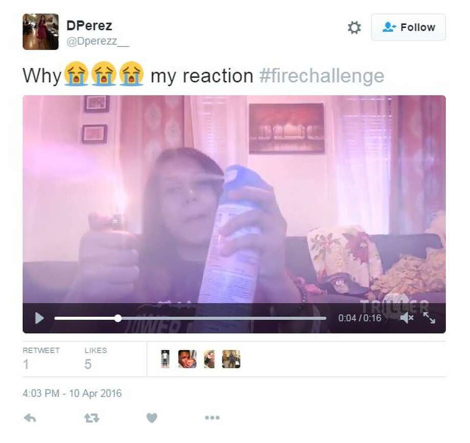 Teens take to social media to showcase their participation in the dangerous #FireChallenge.  Photo: Twitter