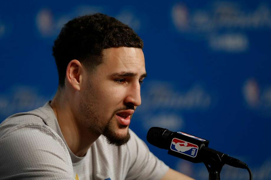 Warriors' Klay Thompson answers questions during a media availability at Quicken Loans Arena in Cleveland, Ohio on Tues. June 7, 2016, as the teams prepare for game 3 of the NBA Championship. Photo: Michael Macor / The Chronicle
