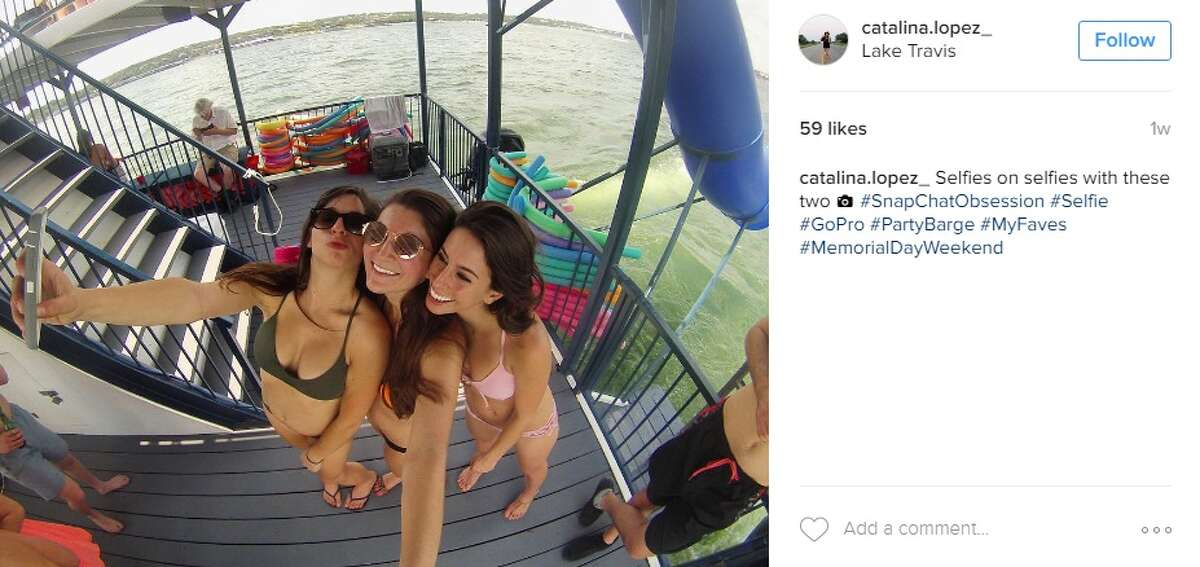 """""""Selfies on selfies with these two #SnapChatObsession #Selfie #GoPro #PartyBarge #MyFaves #MemorialDayWeekend,"""" @catalina.lopez_."""