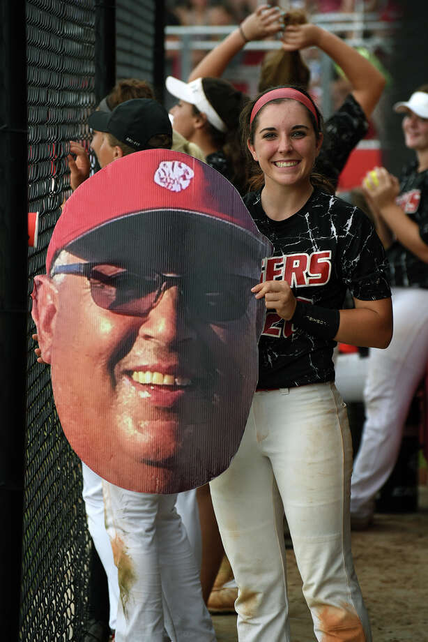 Katy's McKay Bloxham showed how much the Tigers missed their head coach Kalum Haack during the playoffs with a special prop. Photo: Jerry Baker, Freelance