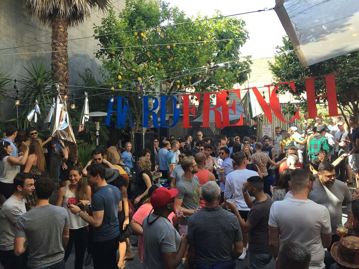 """The crowd at El Rio in the Mission for the monthly """"Hard French"""" party on Sunday, June 5"""