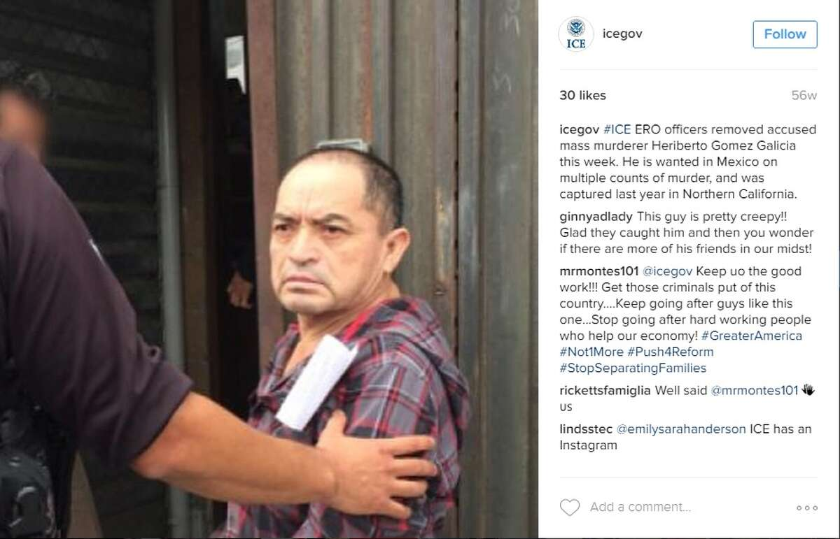 """""""#ICE ERO officers removed accused mass murderer Heriberto Gomez Galicia this week. He is wanted in Mexico on multiple counts of murder, and was captured last year in Northern California."""""""
