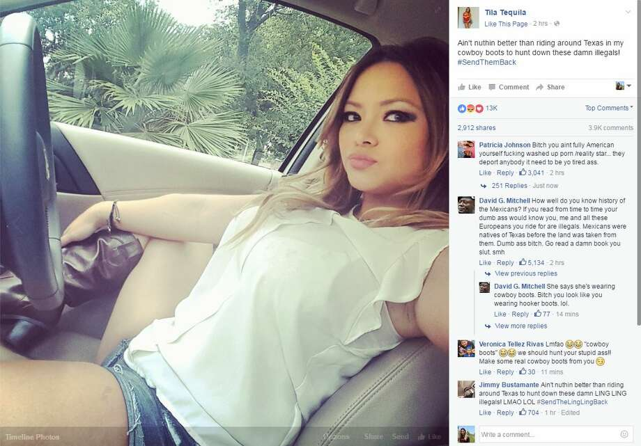 Adult film star Tila Tequila posts racially insensitive photo on Facebook. Photo: Facebook