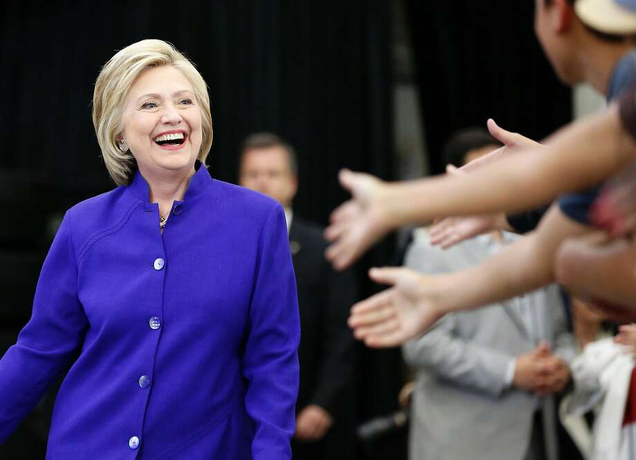 Hillary Clinton greets supporters during a rally at Long Beach City College on June 6, 2016, in Long Beach. Photo: JONATHAN ALCORN, AFP/Getty Images
