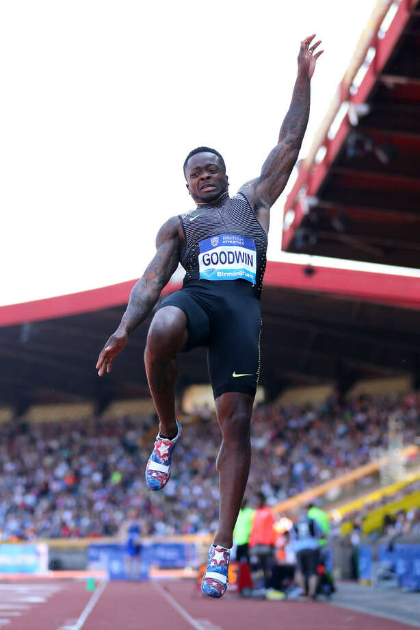 Marquise Goodwin of the USA competes in the men's long jump during the IAAF Diamond League meeting at Alexander Stadium on June 5, 2016 in Birmingham, England. Photo: Richard Heathcote /Getty Images