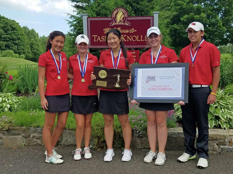 The Greenwich High School girls golf team, from left to right: Gracie Sunoo, Catherine McEvoy, Amanda Yu, Ashley Feighery and  Tess Lamhaouar smile while posing with the winners trophy after winning the CIAC championship in Tuesday, June 7, 2016 at Tashua Knolls Golf Course in Trumbull, Conn. Photo: Contributed Photo / Contributed Photo / Greenwich Time Contributed
