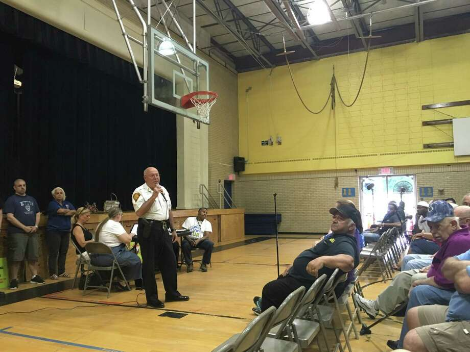 """Bridgeport Police Chief Armando """"A.J."""" Perez speaks to North End residents during a meeting of the City Council's public safety committee at Blackham School on Tuesday, June 7, 2016. Photo: Neil Vigdor"""