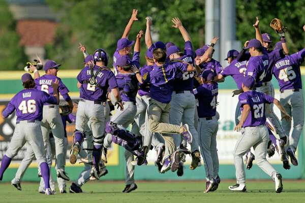 LSU celebrates their win over Rice after an NCAA college baseball tournament regional game in Baton Rouge, La., Tuesday, June 7, 2016. LSU won 5-2 to advance to the Super Regionals.  (Brett Duke /NOLA.com The Times-Picayune via AP) MAGS OUT; NO SALES; USA TODAY OUT; THE BATON ROUGE ADVOCATE OUT; THE NEW ORLEANS ADVOCATE OUT; MANDATORY CREDIT