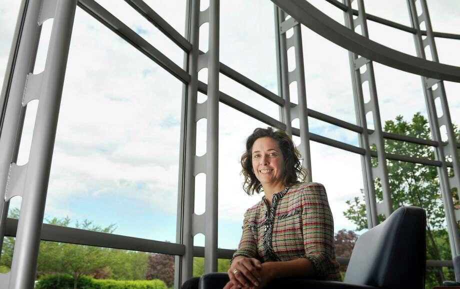 Dawn Von Rohr, Albany Molecular Research Inc., senior vice president, API, sits in the lobby of the company's headquarters on Thursday, May 19, 2016, in Albany, N.Y.  (Paul Buckowski / Times Union) Photo: PAUL BUCKOWSKI / 40036661A