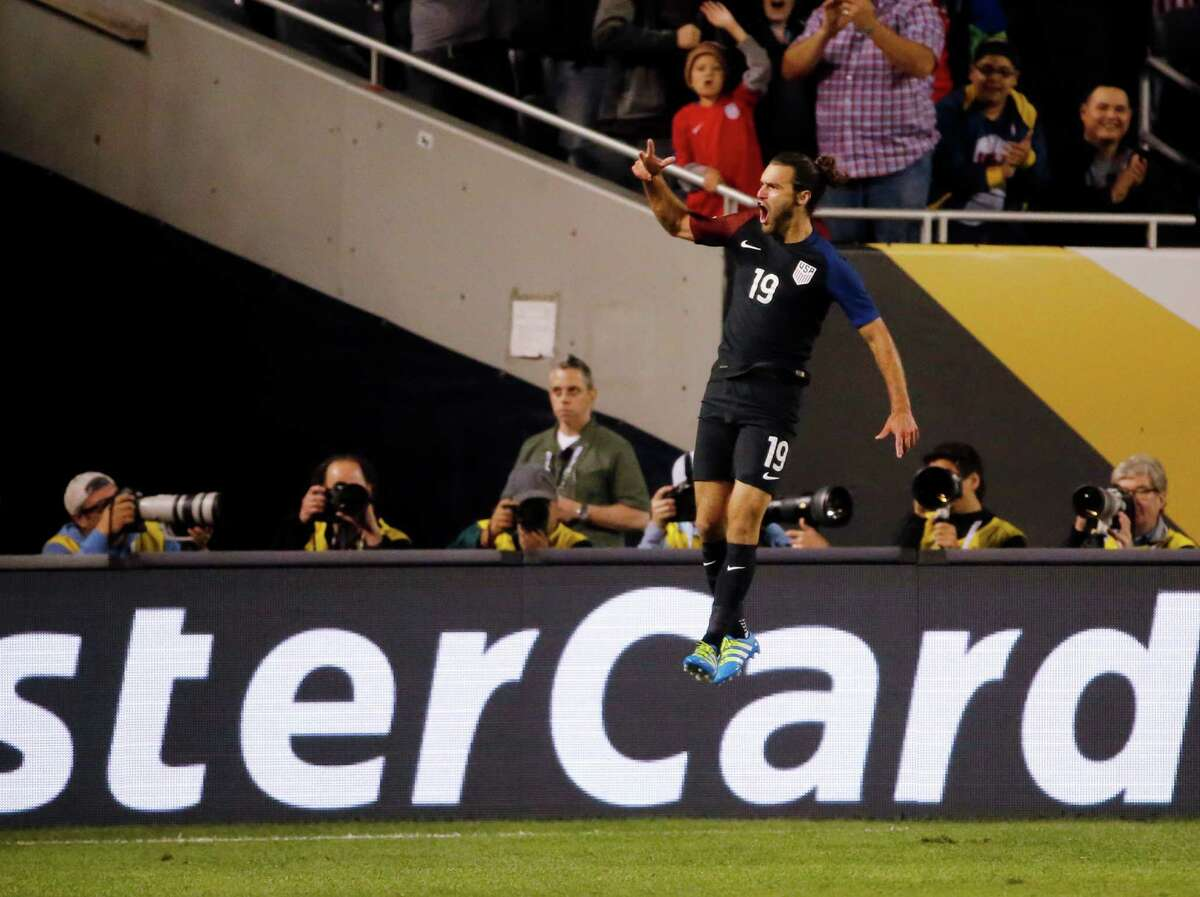 United States' Graham Zusi (19) celebrates after a goal during a Copa America Centenario group A soccer match against Costa Rica at Soldier Field in Chicago, Tuesday, June 7, 2016. (AP Photo/Charles Rex Arbogast)