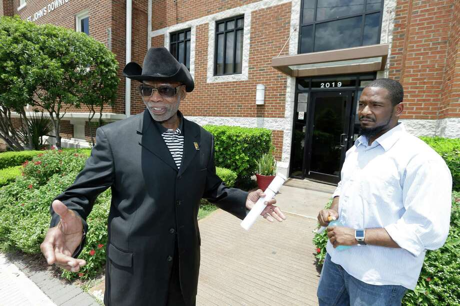 NAACP Houston Branch President James Douglas, left, and Brennen Dunn, defense attorney, have said the civil suit unfairly targeted young black men.  Photo: Melissa Phillip, Staff / © 2016 Houston Chronicle