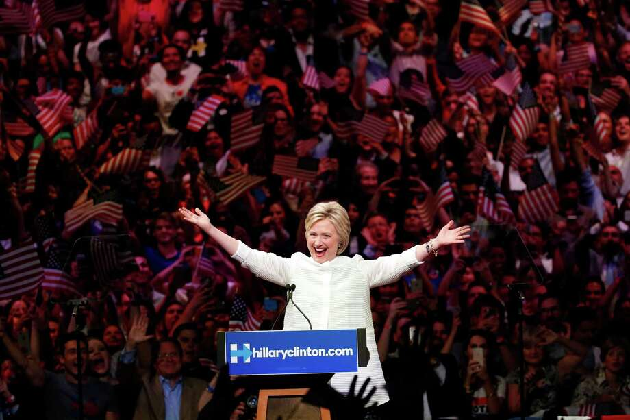 Democratic presidential candidate Hillary Clinton speaks during a presidential primary election night rally, Tuesday, June 7, 2016, in New York. (AP Photo/Julio Cortez) Photo: Julio Cortez, Associated Press / Copyright 2016 The Associated Press. All rights reserved. This material may not be published, broadcast, rewritten or redistribu