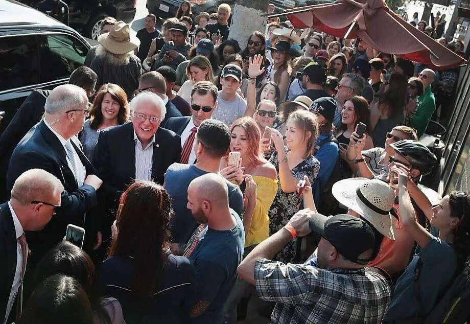 Democratic presidential candidate Sen. Bernie Sanders campaigns in the Silverlake neighborhood of Los Angeles. Photo: Scott Olson, Getty Images