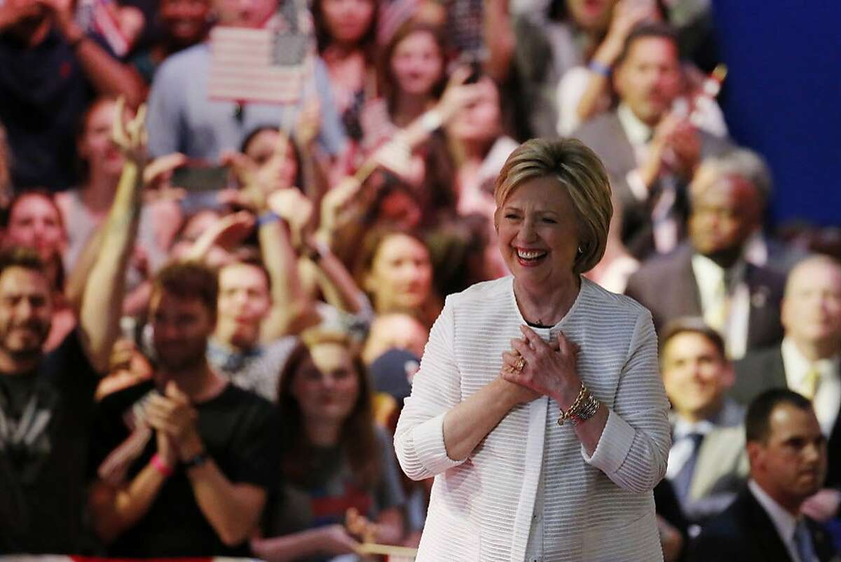 Democratic presidential candidate Hillary Clinton arrives at a presidential primary election night rally, Tuesday, June 7, 2016, in New York.