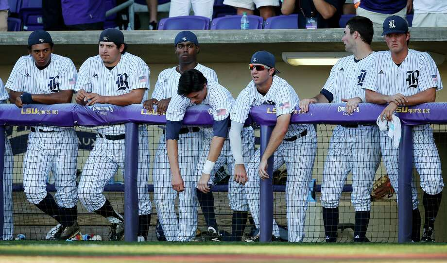 As the final out is recorded, the Rice players were left to ponder a loss that was shaping up to be a notable upset only three innings earlier when the Owls took a 2-0 lead to the seventh inning. Photo: Gerald Herbert, STF / Copyright 2016 The Associated Press. All rights reserved. This material may not be published, broadcast, rewritten or redistribu