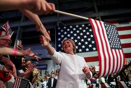 BROOKLYN, NY - JUNE 07:  Democratic presidential candidate former Secretary of State Hillary Clinton greets supporters during a primary night event on June 7, 2016 in Brooklyn, New York.  Hillary Clinton beat rival Bernie Sanders in the New Jersey presidential primary  (Photo by Justin Sullivan/Getty Images)