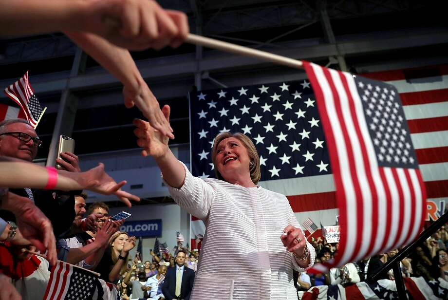 """Democratic presidential candidate Hillary Clinton greets supporters in Brooklyn, N.Y.: """"We're closing in on a milestone."""" Photo: Justin Sullivan, Getty Images"""