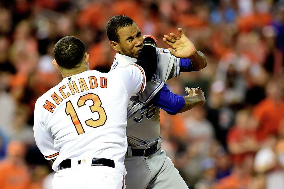 BALTIMORE, MD - JUNE 07:  Manny Machado #13 of the Baltimore Orioles and Yordano Ventura #30 of the Kansas City Royals fight in the fifth inning during a MLB baseball game at Oriole Park at Camden Yards on June 7, 2016 in Baltimore, Maryland. Machado and Ventura were ejected from the game. (Photo by Patrick McDermott/Getty Images) ORG XMIT: 607679113 Photo: Patrick McDermott / 2016 Getty Images