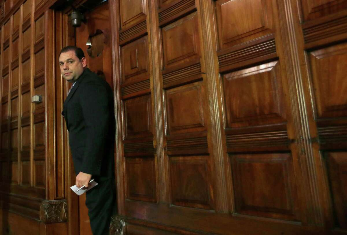 Joseph Percoco, an aide to New York Gov. Andrew Cuomo enter the Red Room Thursday, May 16, 2013, at the Capitol in Albany, N.Y. (AP Photo/Mike Groll)