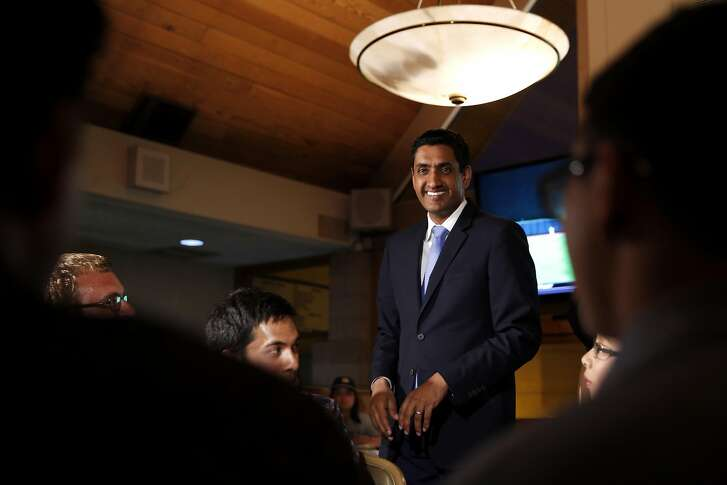 Ro Khanna speaks to supporters during an election night party at David's Restaurant in Santa Clara, California, on Tuesday, June 7, 2016.