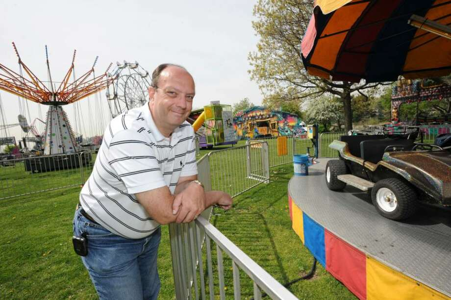 Bob Macintyre, of the Hamilton Avenue School PTA, is the organizer of the Harborfest 2010, which includes carnival groups, pony rides, games, food, music and a Tall Ship showcase, at Roger Sherman Baldwin Park, on Wednesday, April 21, 2010. Harborfest 2010 will be held on Friday and Saturday, April 23 and 24. Photo: Helen Neafsey / Greenwich Time