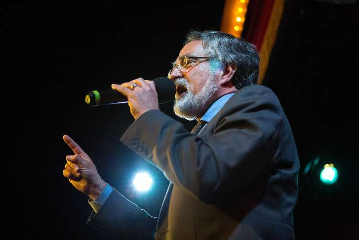 Aaron Peskin gives a speech at  the Jane Kim election night party at Oasis in San Francisco, Calif. on Tuesday, June 7, 2016.