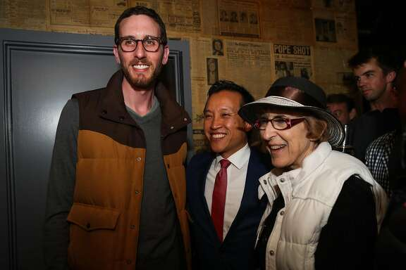 Supervisor Scott Wiener, who is running for State Senate  posed for a photo with Supervisor David Chiu (center) during Wiener's election party, at Blackbird, in San Francisco, California, on Tuesday, June 7, 2016.
