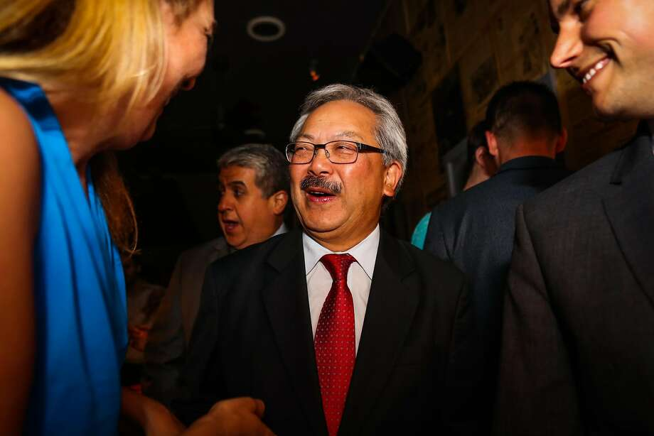 Mayor Ed Lee chatted with Eva Fordham (left), during Supervisor Scott Wiener's election party, at Blackbird, in San Francisco, California, on Tuesday, June 7, 2016. Photo: Gabrielle Lurie, Special To The Chronicle