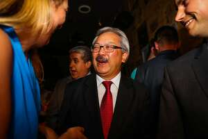 Mayor Ed Lee chatted with Eva Fordham (left),  during Supervisor Scott Wiener's election party, at Blackbird, in San Francisco, California, on Tuesday, June 7, 2016. Wiener is running for State Senate.