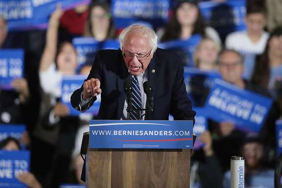SANTA MONICA, CA - JUNE 07:  Democratic presidential candidate Senator Bernie Sanders (D-VT) speaks to supporters at an election-night rally on June 7, 2016 in Santa Monica, California. Hillary Clinton held an early lead in today's California primary.  (Photo by Scott Olson/Getty Images)