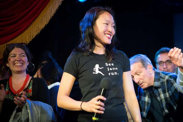 Jane Kim gives a speech at her election night party at Oasis in San Francisco, Calif. on Tuesday, June 7, 2016.