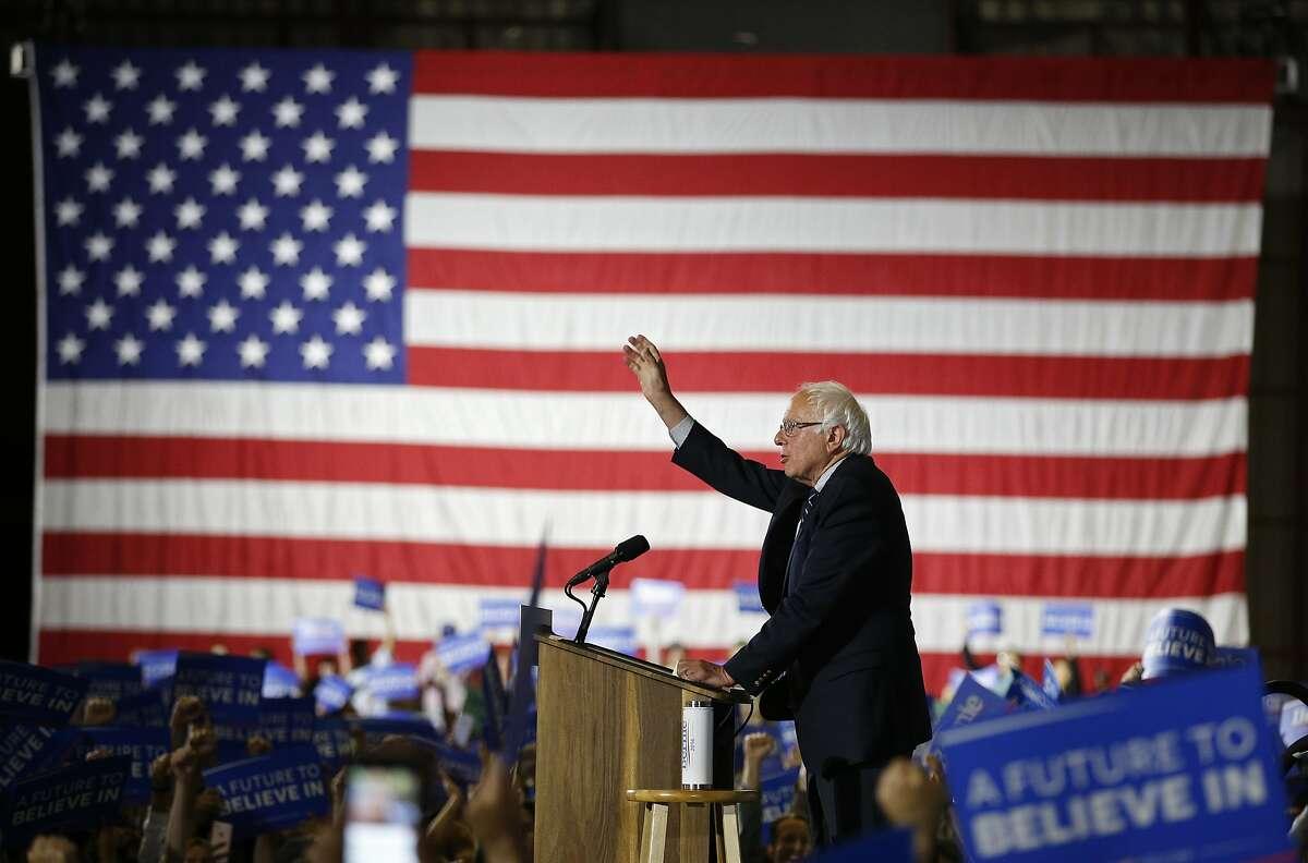 Democratic presidential candidate Sen. Bernie Sanders, I-Vt., speaks at a rally Tuesday, June 7, 2016, in Santa Monica, Calif.
