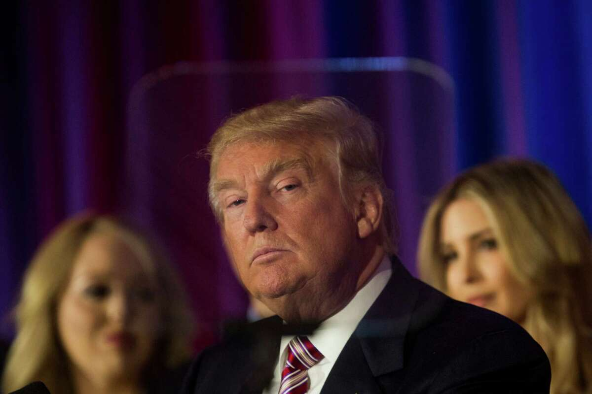 Donald Trump, the presumptive Republican presidential nominee, speaks at a primary night event at Trump National Golf Club Westchester in Briarcliff Manor, N.Y., on Tuesday. He is slated for a private fundraising luncheon in San Antonio next week.