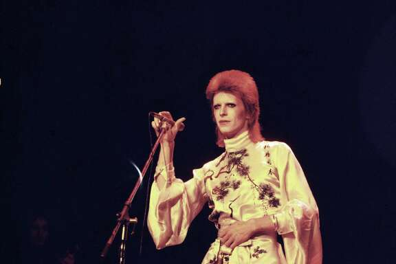 David Bowie performs on his Ziggy Stardust/Aladdin Sane tour in 1973. The era was ripe for musical creativity; the defining records of more recent generations may be harder to pinpoint.