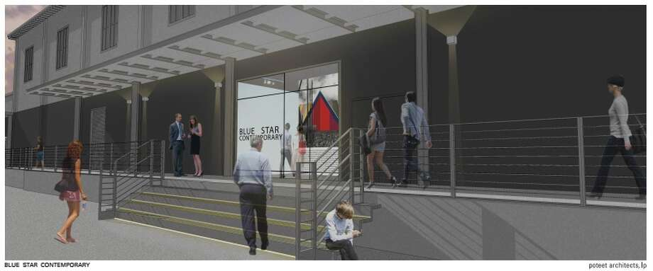 A rendering shows planned improvements to Blue Star Contemporary, including a wider front staircase; large glass entry and a continuous railing and paint treatment that visually connects the Mosaic Gallery and Studio to Blue Star Contemporary. Photo: Courtesy Blue Star Contemporary