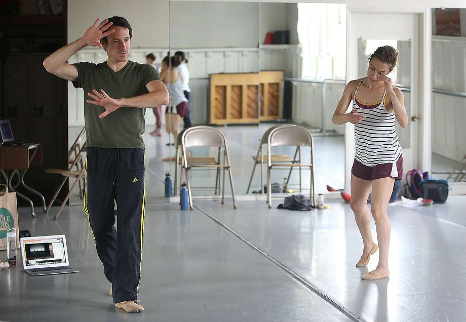San Francisco Ballet principal James Sofranko (left) works with SF Danceworks dancer Anne Zivolich-Adams during the second day of rehearsals on June 6 in San Francisco. Photo: Liz Hafalia, The Chronicle