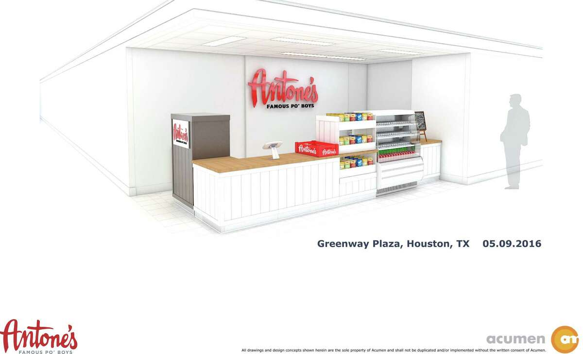 Rendering of a new grab-and-go kiosk from Antone's Famous Po'Boys, which will be installed in the food court at 5 Greenway Plaza. The kiosk concept is intended to be the first of many for Houston.