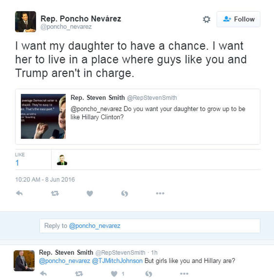 Texas State Representative Poncho Nevarez got into a heated Twitter exchange with a parody account for the fictional Georgia congressman Steven Smith on Wednesday, June 8, 2016. Photo: Rep. Poncho Nevarez On Twitter