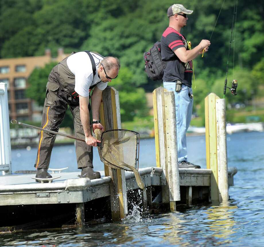 Todd Bobowick, left, releases grass carp into Candlewood Lake at the town boat ramp in Danbury as Adam Janesky does some fishing. The carp are part of a project to control an invasive plant, the Eurasian watermilfoil. Photo: Carol Kaliff / Hearst Connecticut Media / The News-Times