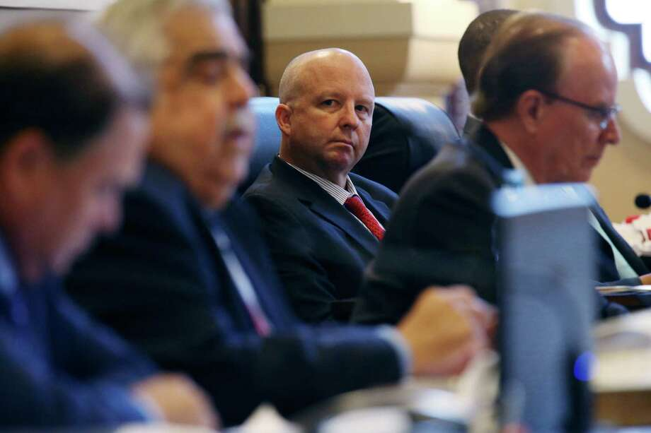 Bexar County Precinct 3 Commissioner Kevin Wolff (center) said he voted against renewing Blue Armor security contract because of the precedent it would set. Photo: JERRY LARA /San Antonio Express-News / © 2016 San Antonio Express-News