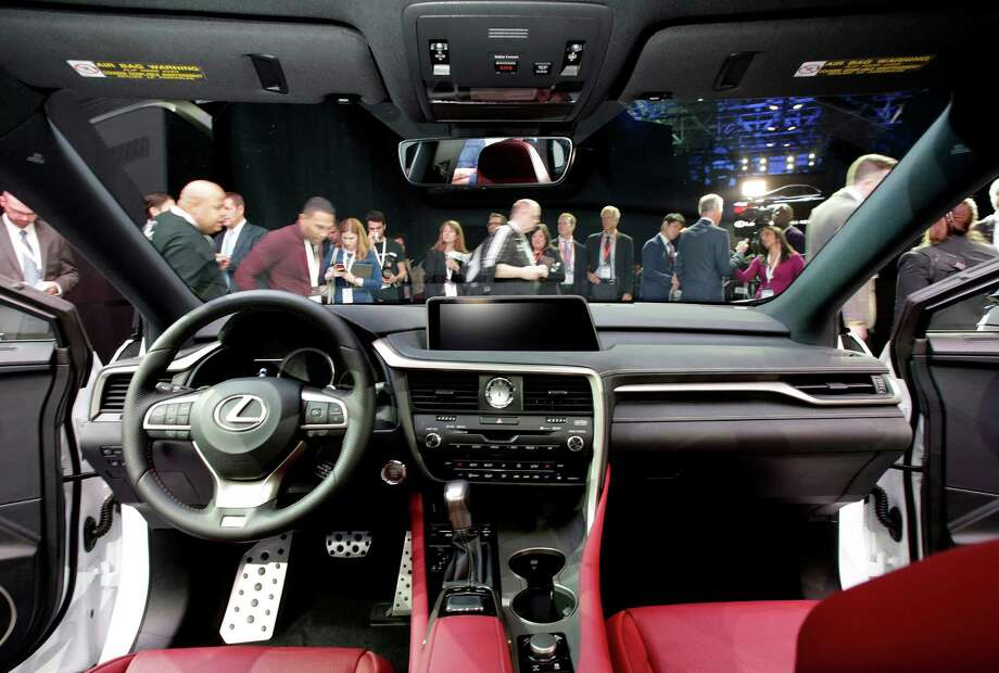 FILE - This Wednesday, April 1, 2015, file photo, shows the interior of a 2016 Lexus RX at the New York International Auto Show. Once expensive and limited mainly to high-priced luxury cars, automatic braking is now more affordable and included on more mainstream vehicles. Toyota is making it standard on nearly all new Lexus and Toyota models by the end of 2017. (AP Photo/Mark Lennihan, File) Photo: Mark Lennihan / Associated Press / Copyright 2016 The Associated Press. All rights reserved. This material may not be published, broadcast, rewritten or redistribu