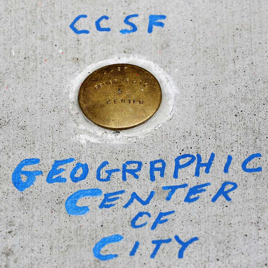The marker at the geographic center of San Francisco, before it was stolen. Photo: Connor Radnovich, The Chronicle
